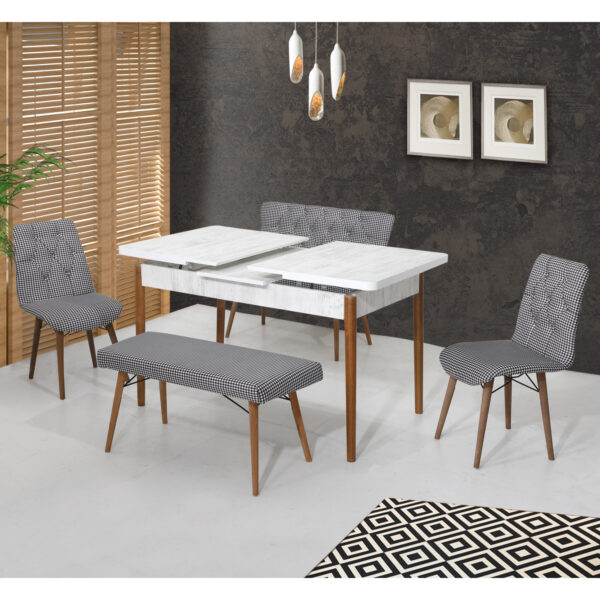 Set masa extentibila Elit Modella alb-negru 2 scaune si 2 banchete 170x80cm