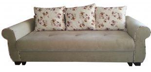 Set de canapea extensibila si fotolii bej, Eliza