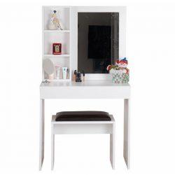 Leina machiaj masa cu taburet cu oglinda alb