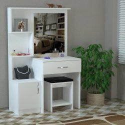 Set Masa machiaj cu oglinda + taburet cadou World alb Modella