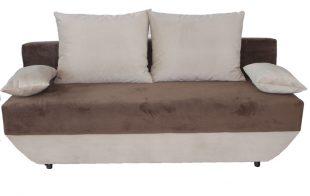 Canapea extensibila Mira, cu lada, maro,190x95x85 cm