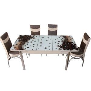 Set Masa Extensibila cu 4 scaune,Elt 060,Maro flori,masa ext.170x80cm