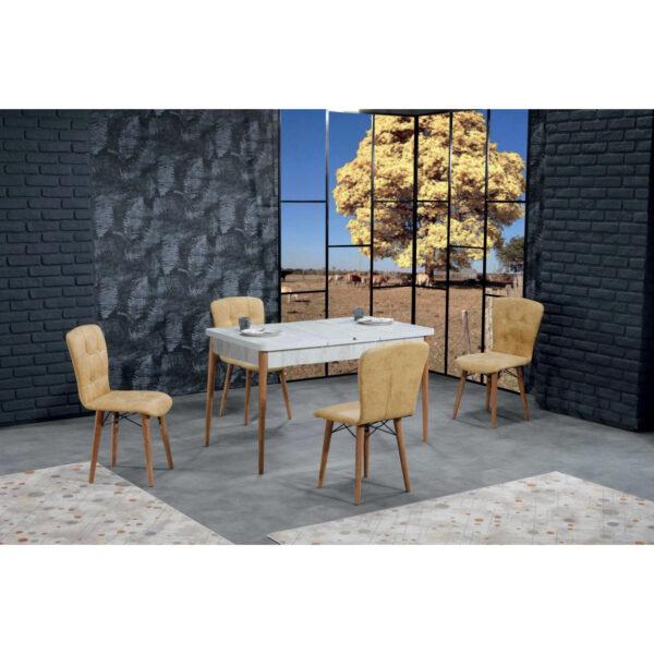 Set Masa Extensibila cu 4 scaune,Elegant galbena,masa ext.170x80cm