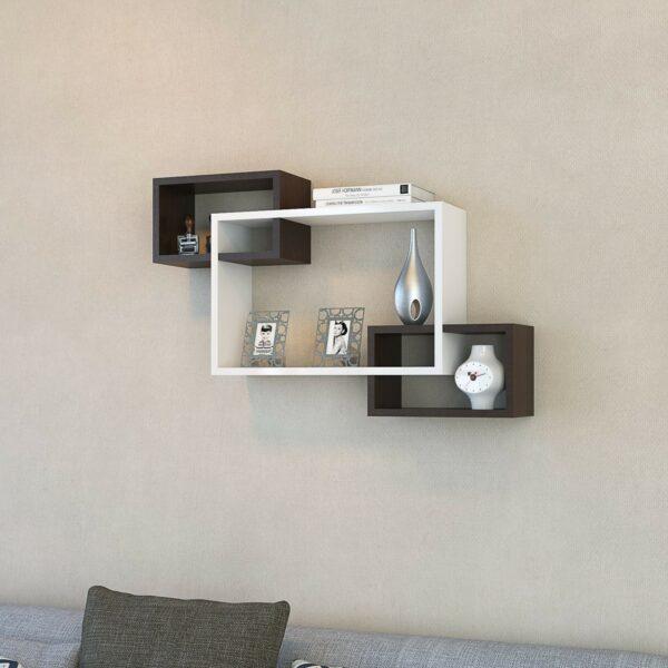 Raft de perete Ibiza alb/wenge