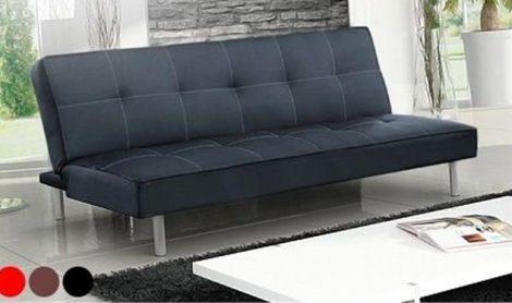Canapea extensibila Hamilton Modela 3 locuri, piele ecologica, negru,
