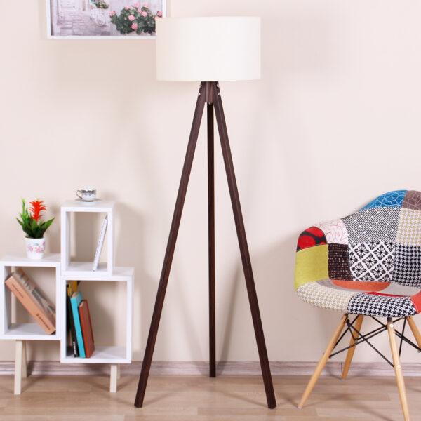 Lampadar elegant alb/nuc,145x45x45 cm