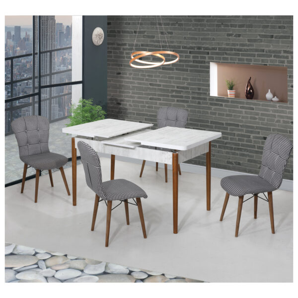 Set Masa Extensibila cu 4 scaune,Elegant albnegru,masa ext.170x80cm
