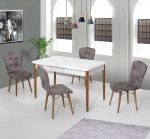 Set Masa Extensibila cu 4 scaune, Elegant Modella, gri
