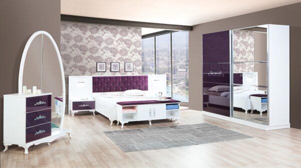Dormitor Artemis alb cu mov
