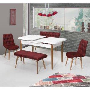 Masa extensibila alb pıcoare lemn 170x80 cm