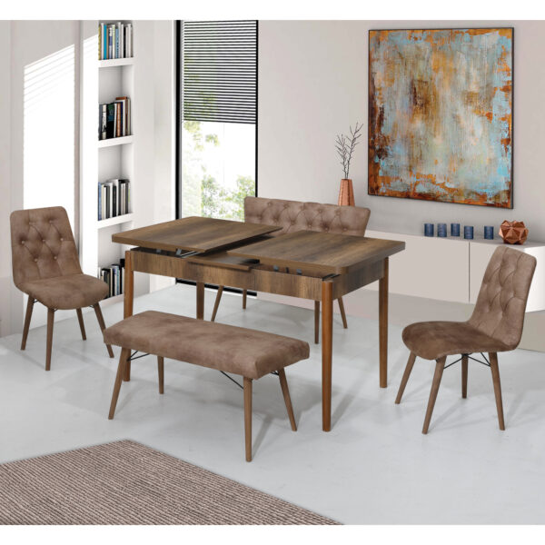 Set Masa Extensibila Elit Modella, maro cu 2 scaune si 2 banchete 170x80cm
