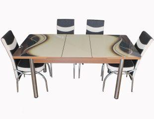 Set Masa Extensibila cu 4 scaune, Elt 02, Maro