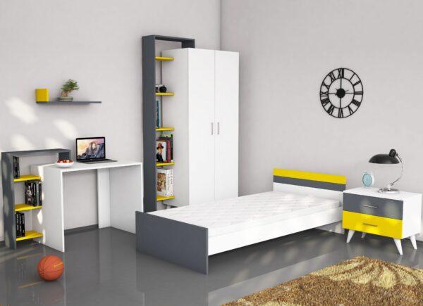 Dormitor Tineret Swan Galben 5 piese