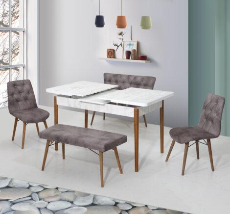Set Masa Extensibila cu scaune si set de banceta, Elit Modella, gri