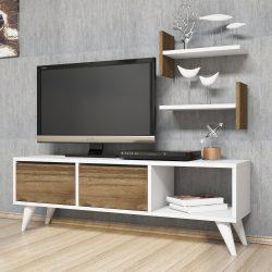 Comoda TV cu 2 rafturi suspendate Foxy alb/nuc