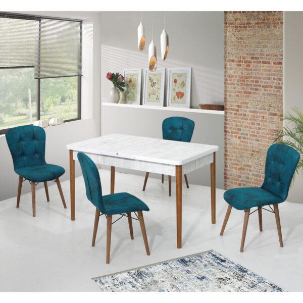 Set Masa Extensibila cu 4 scaune,Elegant turcuaz