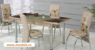 Set Masa Extensibila cu 4 scaune,Elt 060,Maro,masa ext.170x80cm