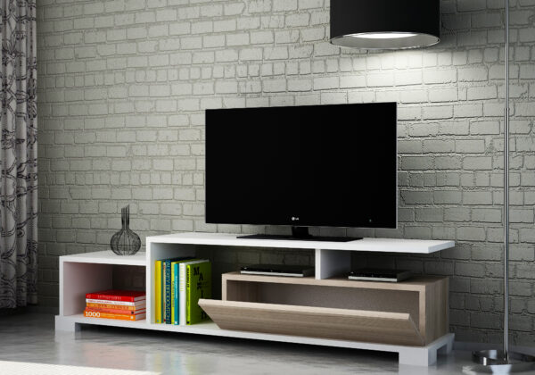 Comoda TV Safir alb-nuc