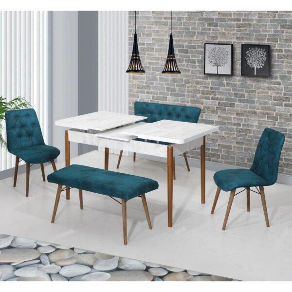 Set Masa Extensibila cu scaune si set de bancheta Elit turcuaz
