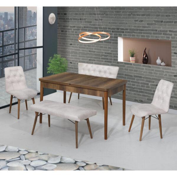 Set Masa Extensibila Elit Modella, crem cu 2 scaune si 2 banchete 170x80cm