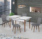 Set Masa Extensibila cu 4 scaune, Elegant alb/negru.
