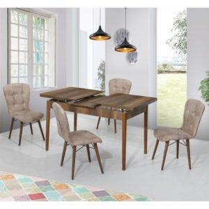 Set Masa Extensibila Elegant bej, cu 4 scaune, masa ext.170x80cm