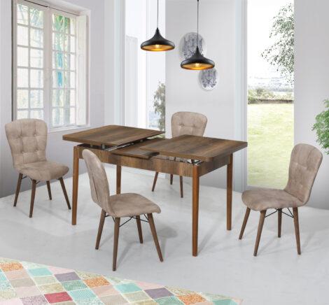 Set Masa Extensibila cu 4 scaune, Elegant,bej,masa