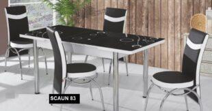 Set Masa Extensibila cu 4 scaune, Elt 83,negru