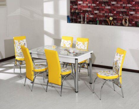 Set Masa Extensibila cu 4 scaune,galben,masa