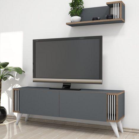 Set comoda TV si corp cu rafturi Negro