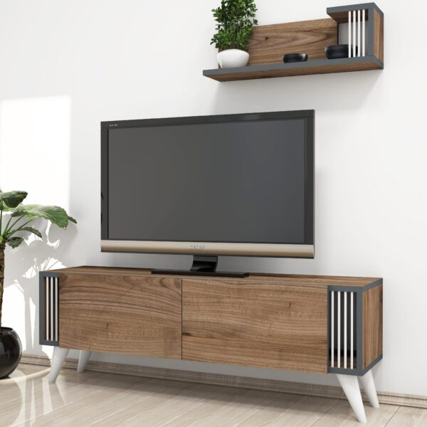 Set comoda TV si corp cu rafturi Negro NUC