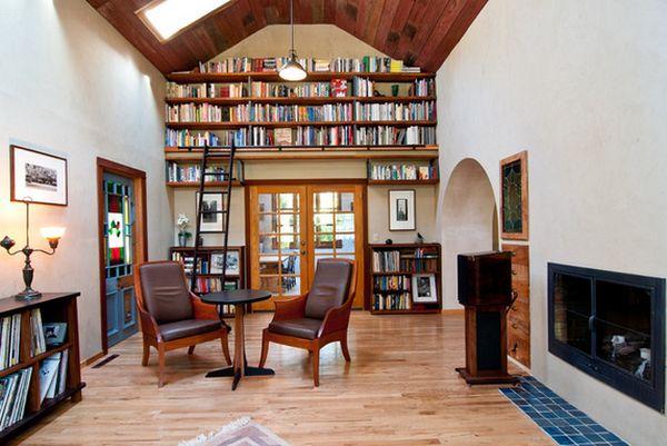 Biblioteca de lemn- accesoriul cheie pentru un decor practic