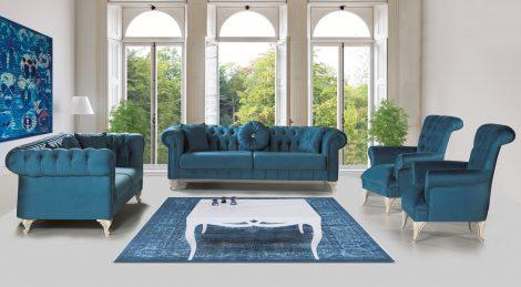 Set canapele si fotoliu Chesterfield albastru