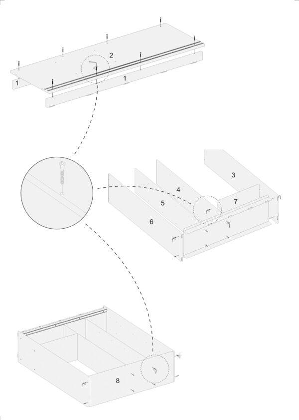 Dulap Zambak Modela cu usi glisante stejar/negru1800 x 1600 x 530 mm