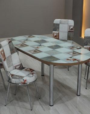 Set masa extensibila ELEGANT MDF + 6 scaune