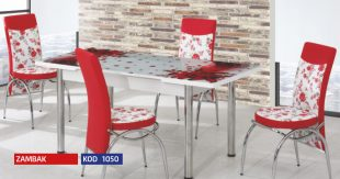 Set Masa Extensibila cu 4 scaune,Elt 060,Rosu flor,masa ext.170x80cm