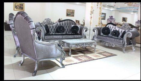 Salon 2,clasic 3+2+1+1+masuta,lemn masiv,original, argentiu