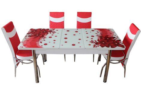 Set Masa Extensibila cu 4 scaune, Elt 060, Rosu flor