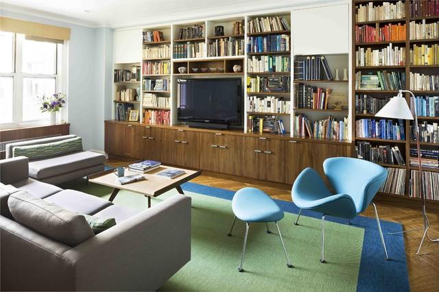 Design interior practic si rafinat cu o biblioteca de lemn-