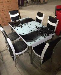 Set Masa Extensibila cu 4 scaune,alb negru cu flor,masa ext.170x80cm