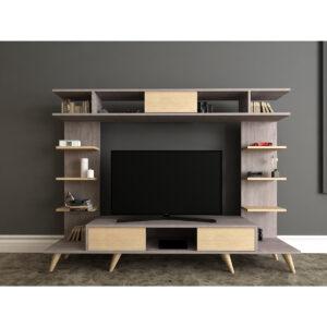 Comoda TV Pan, 180 x 35 x 135 cm, maro- galben pai