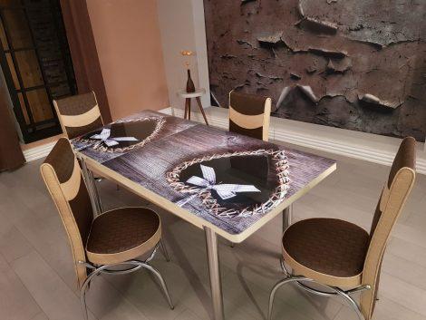 Set Masa Extensibila cu 4 scaune,maro inimioara,masa ext.170x80cm