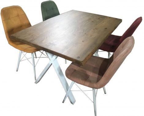 Set masa lemn masiv cu 4 scaune multicolor Anna