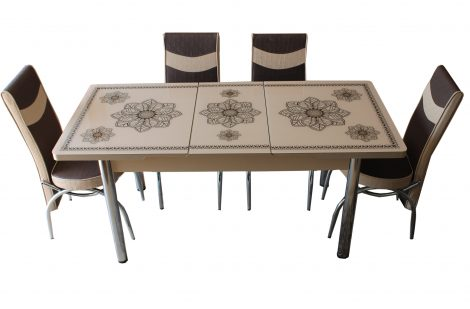 Set Masa Extensibila cu 4 scaune,bej, 3 flori,masa