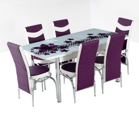 Set masa+6 scaune Purple Hollywood, alb/mov