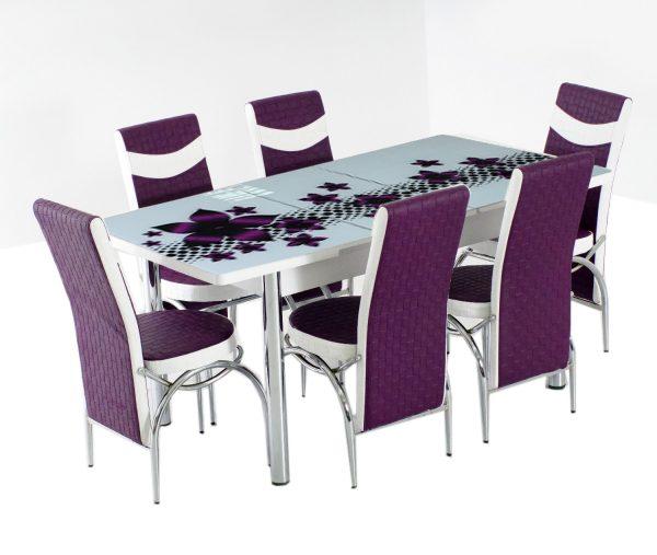 masa extensibila cu scaune mov
