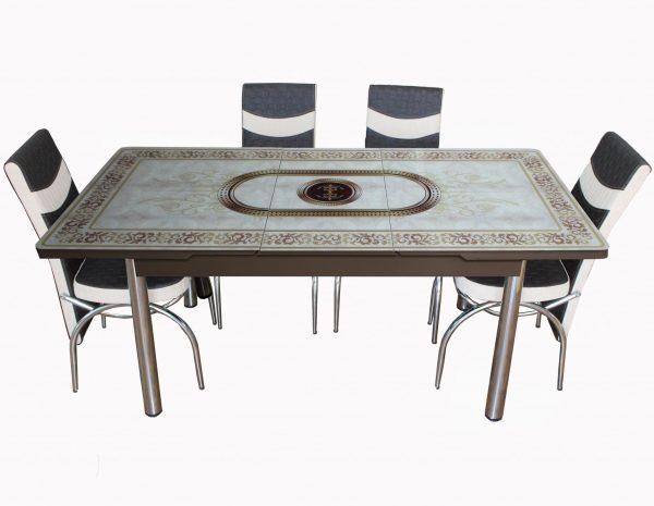 masa extensibila cu scaune maro