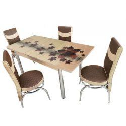 Set masa blat sticla+6 scaune Star maro piele eco