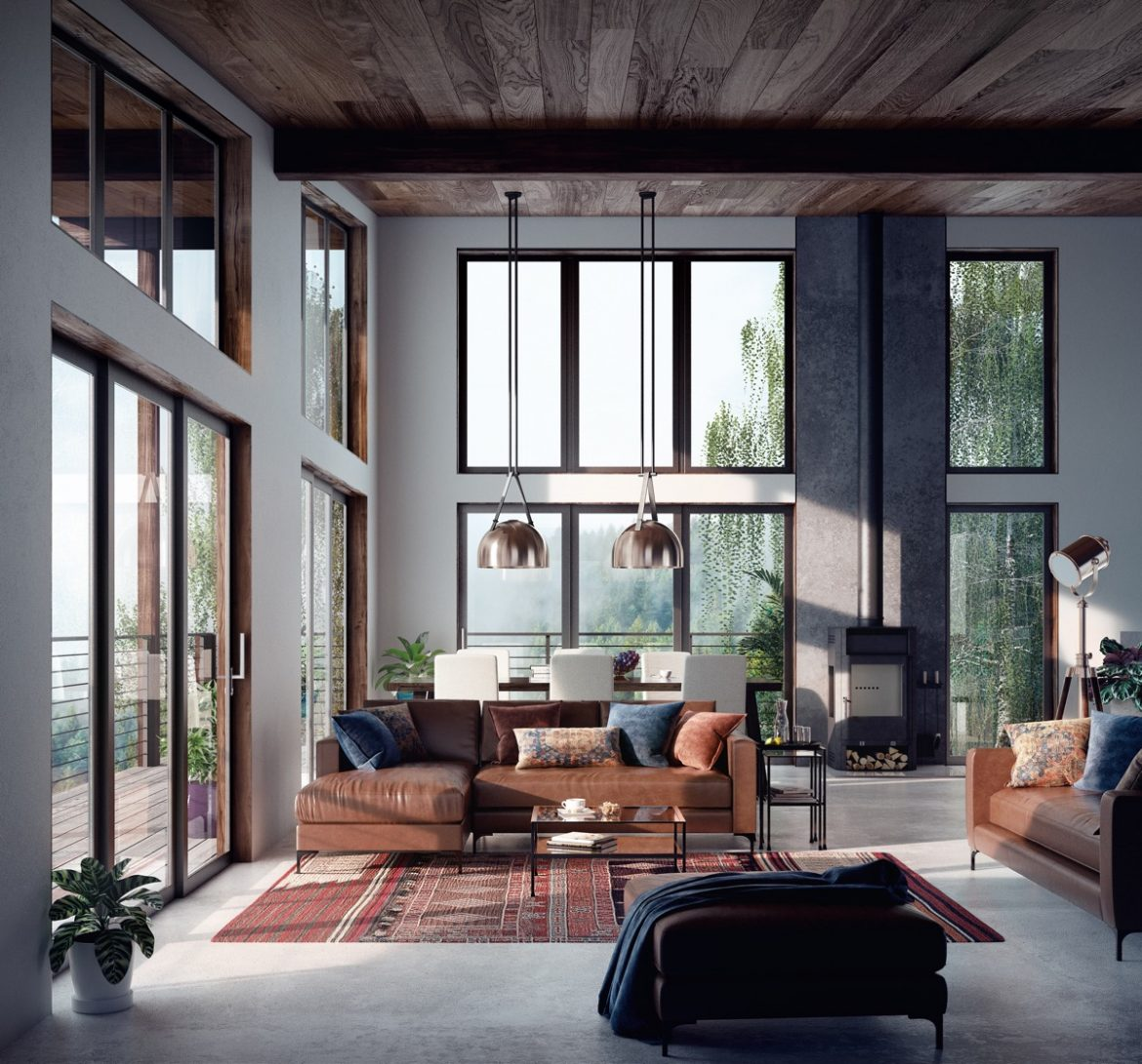 Beautiful-Living-Room-With-Leather-Couch-And-Rustic-Decor-Open-Concept-Large-Windows