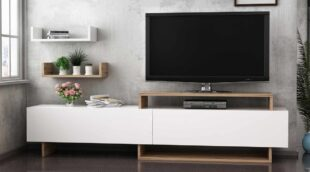 Comoda tv cu 2 rafturi incluse Zera alb/nuc